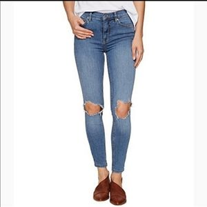 Free People High Waisted Busted Knee Jeans